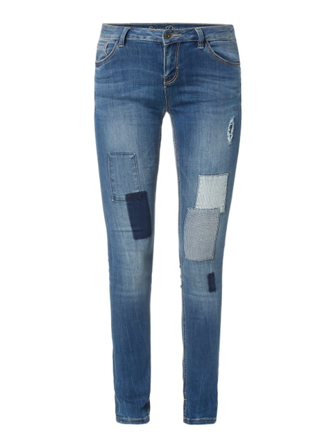 Stone Washed Skinny Fit Jeans mit Patches Blau / Türkis - 1