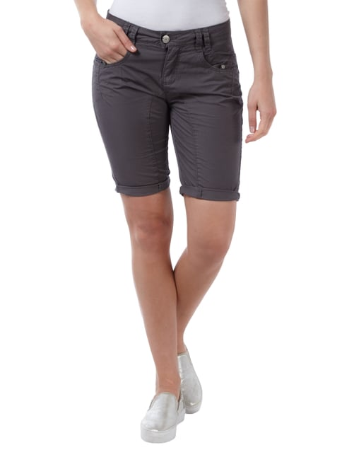 Street One Casual Fit Shorts aus Baumwolle Anthrazit - 1