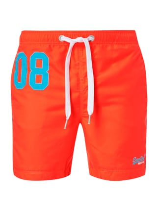 Badeshorts mit Kontraststickerei Orange - 1