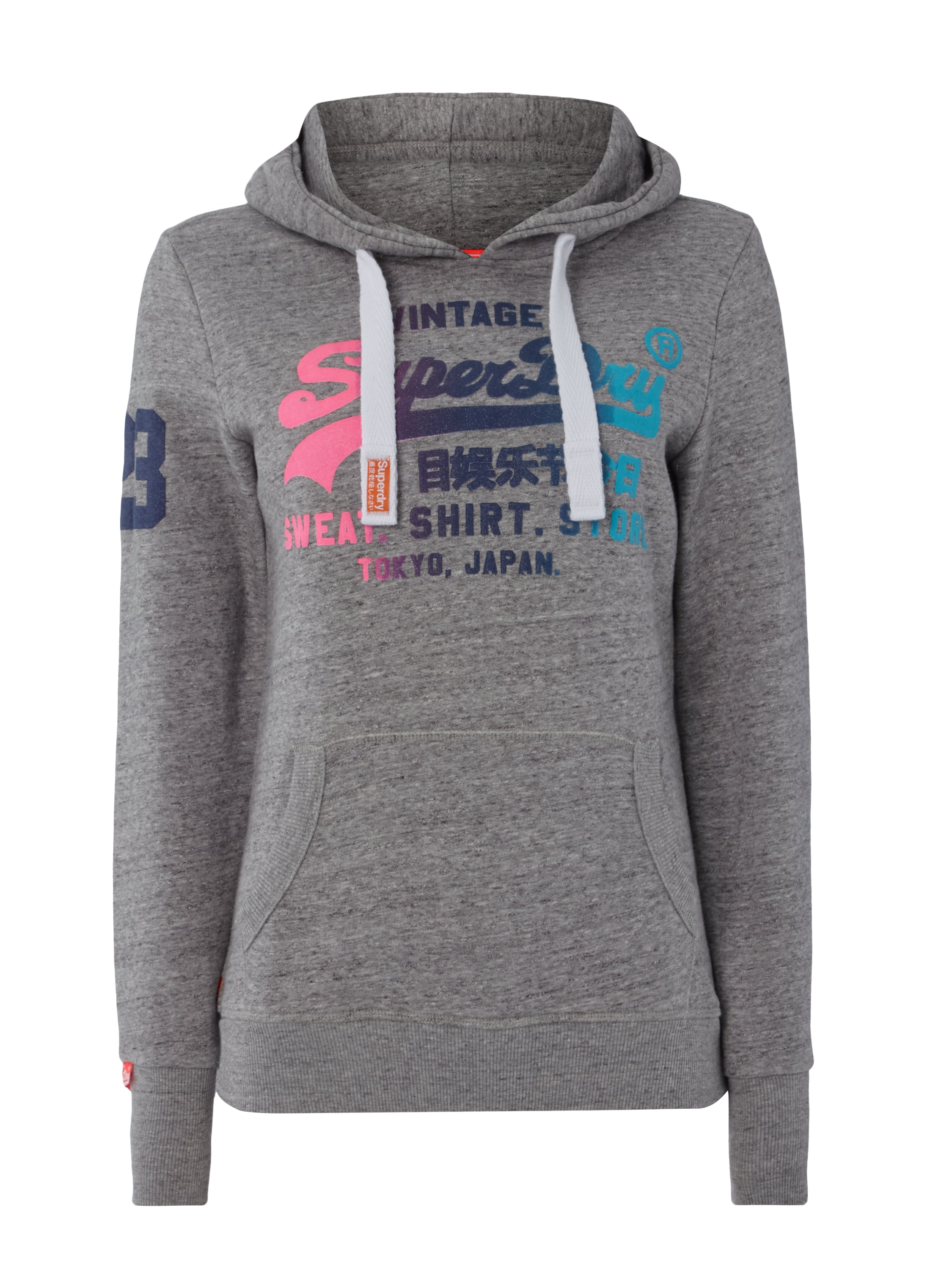 superdry hoodie mit logo print in grau schwarz online. Black Bedroom Furniture Sets. Home Design Ideas