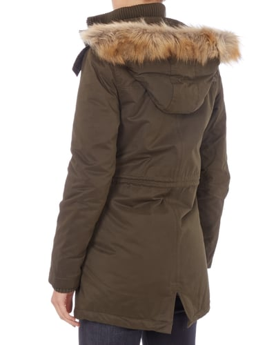 superdry parka mit abnehmbarem webpelz in gr n online. Black Bedroom Furniture Sets. Home Design Ideas