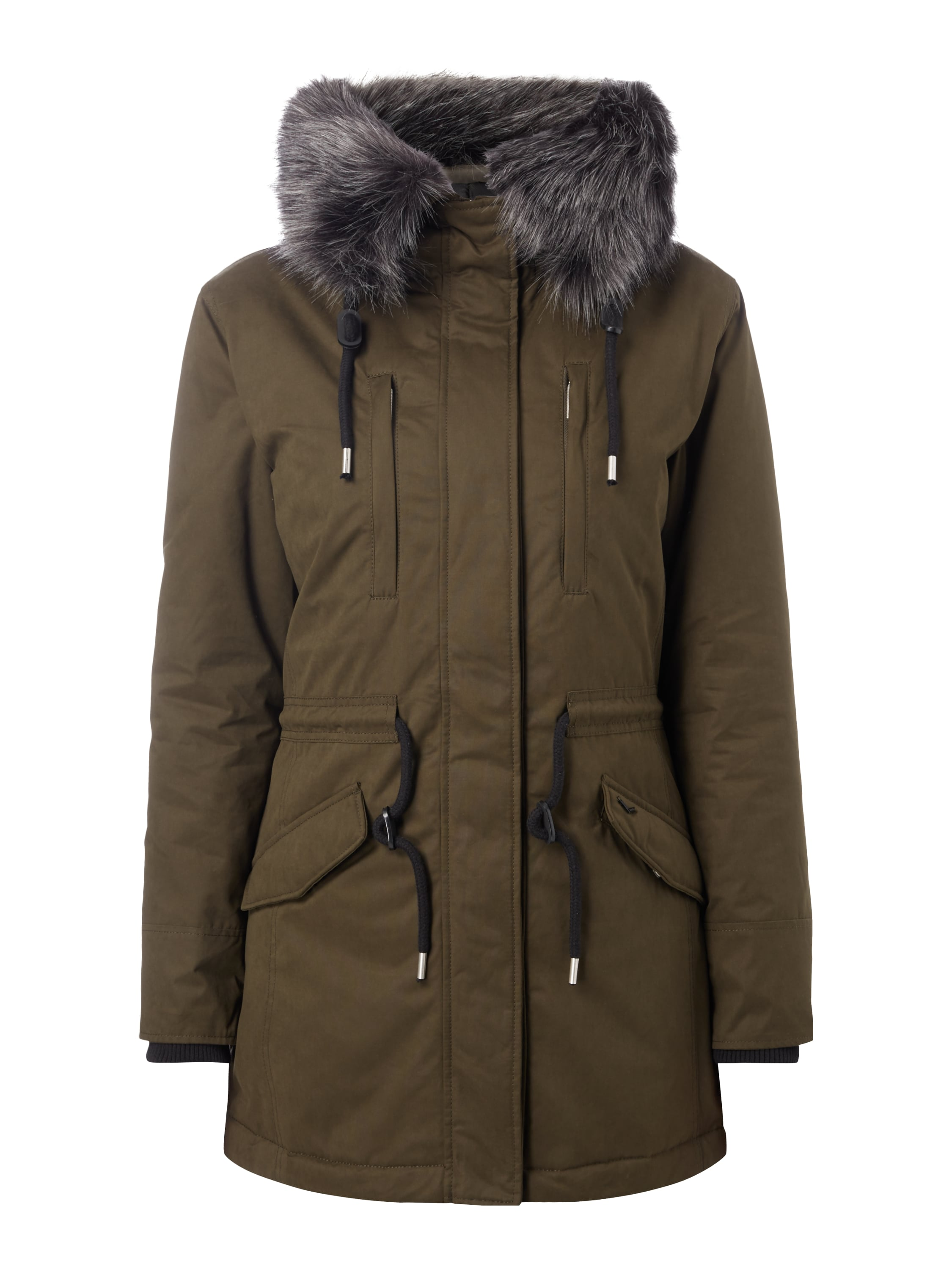 superdry parka mit webpelzbesatz wattiert in gr n online. Black Bedroom Furniture Sets. Home Design Ideas