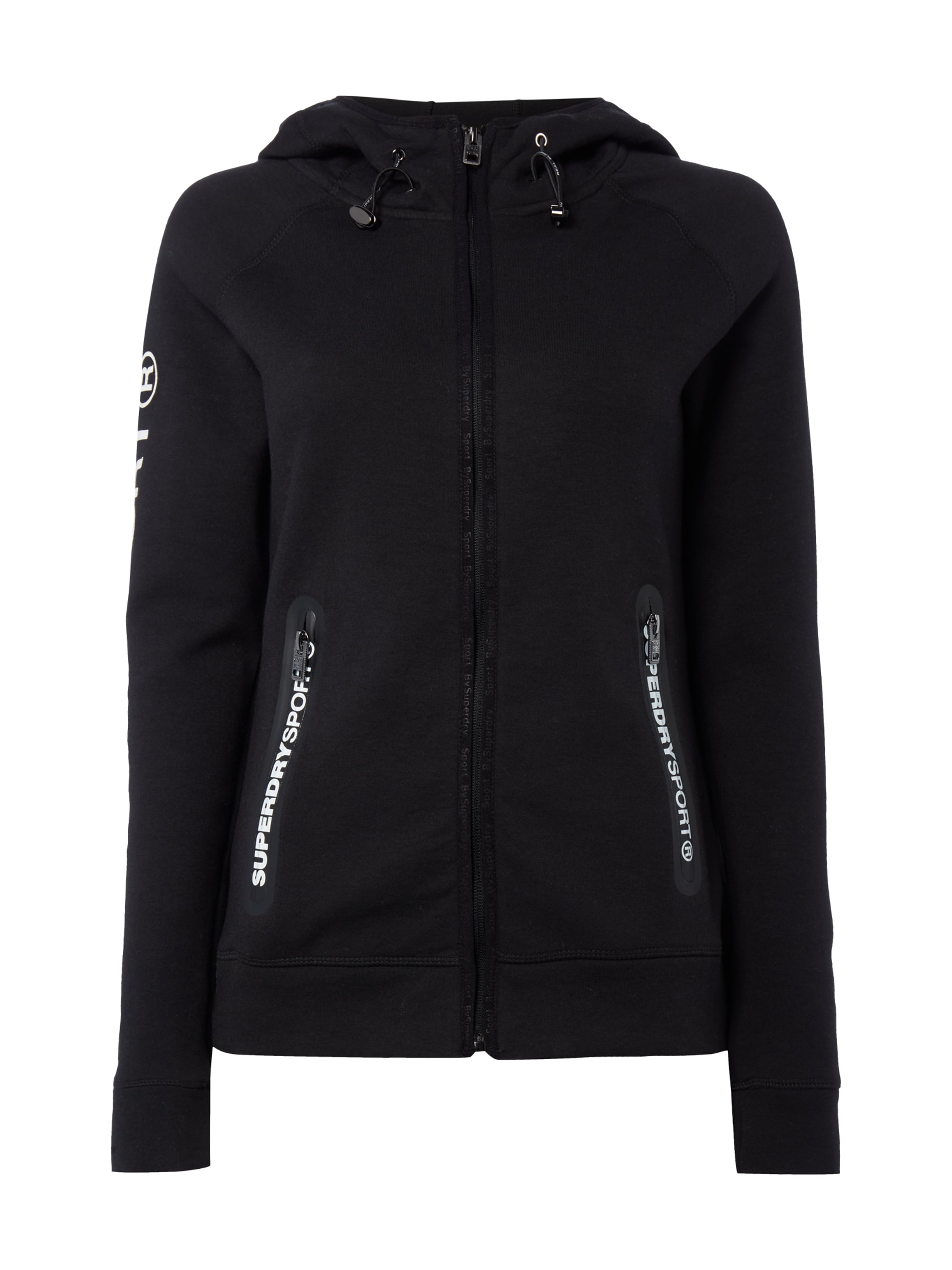 superdry sweatjacke mit kapuze in grau schwarz online kaufen 9505164 p c online shop. Black Bedroom Furniture Sets. Home Design Ideas