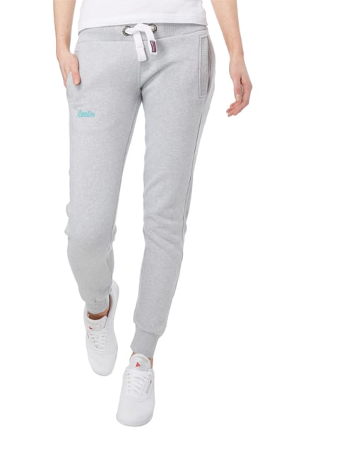Superdry Sweatpants mit Logo-Stickerei Hellgrau meliert - 1