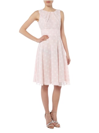 Swing Cocktailkleid mit Polka Dots in Rosé - 1