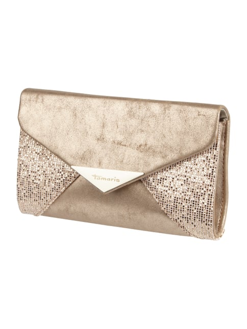 Kuvert-Clutch in Metallicoptik mit Pailletten-Besatz Orange - 1