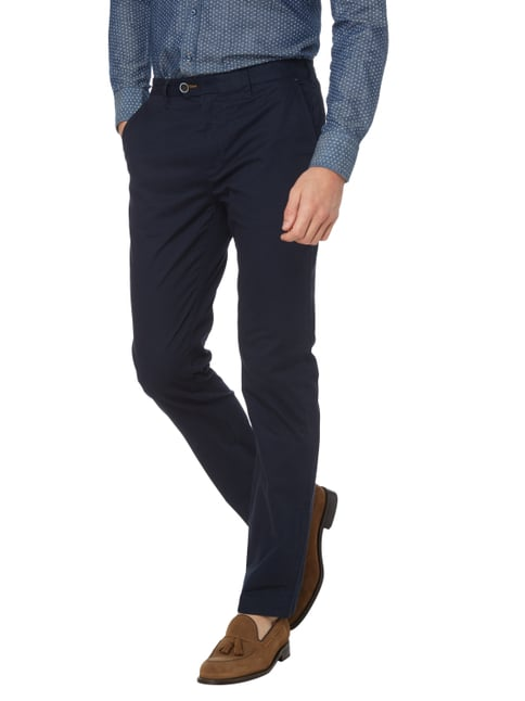 Ted Baker Slim Fit Chino mit Allover-Muster Marineblau - 1