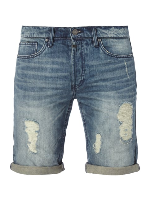 Destroyed Look 5-Pocket-Jeansbermudas Blau / Türkis - 1