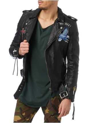 Tigha Lederjacke im Biker-Look mit Patches Schwarz - 1