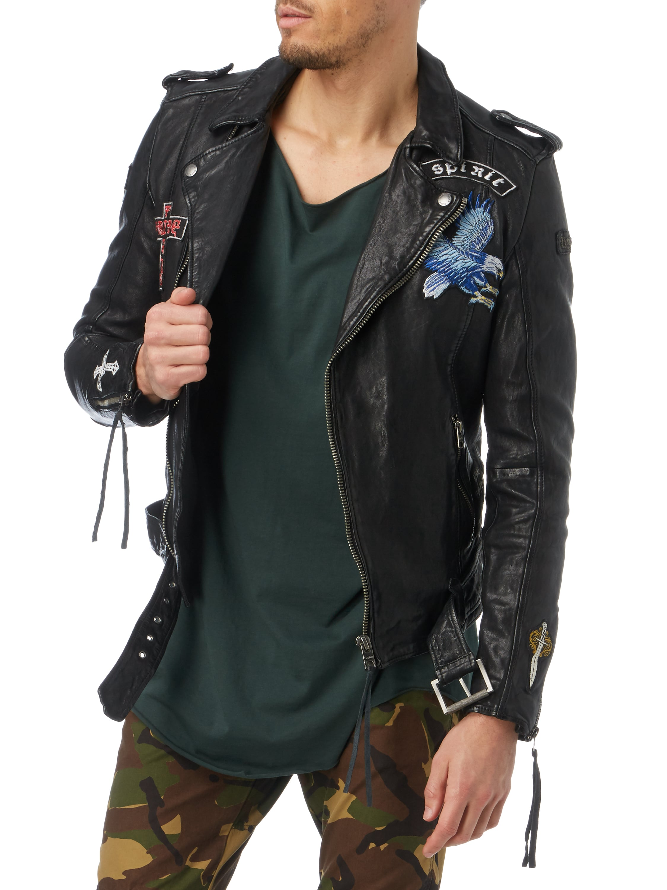 lederjacke im biker look mit patches fashion id online shop. Black Bedroom Furniture Sets. Home Design Ideas