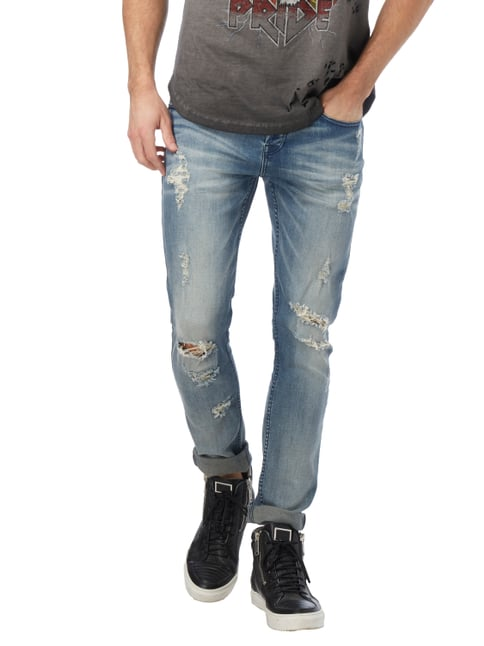 Tigha Skinny Fit Jeans im Destroyed Look Hellblau meliert - 1
