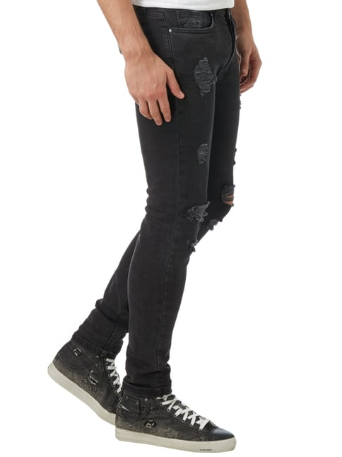 Tigha Super Slim Fit 5-Pocket-Jeans im Destroyed Look Schwarz - 1