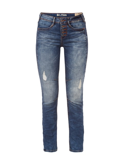 Anti Fit Destroyed Jeans mit Knopfleiste Blau / Türkis - 1