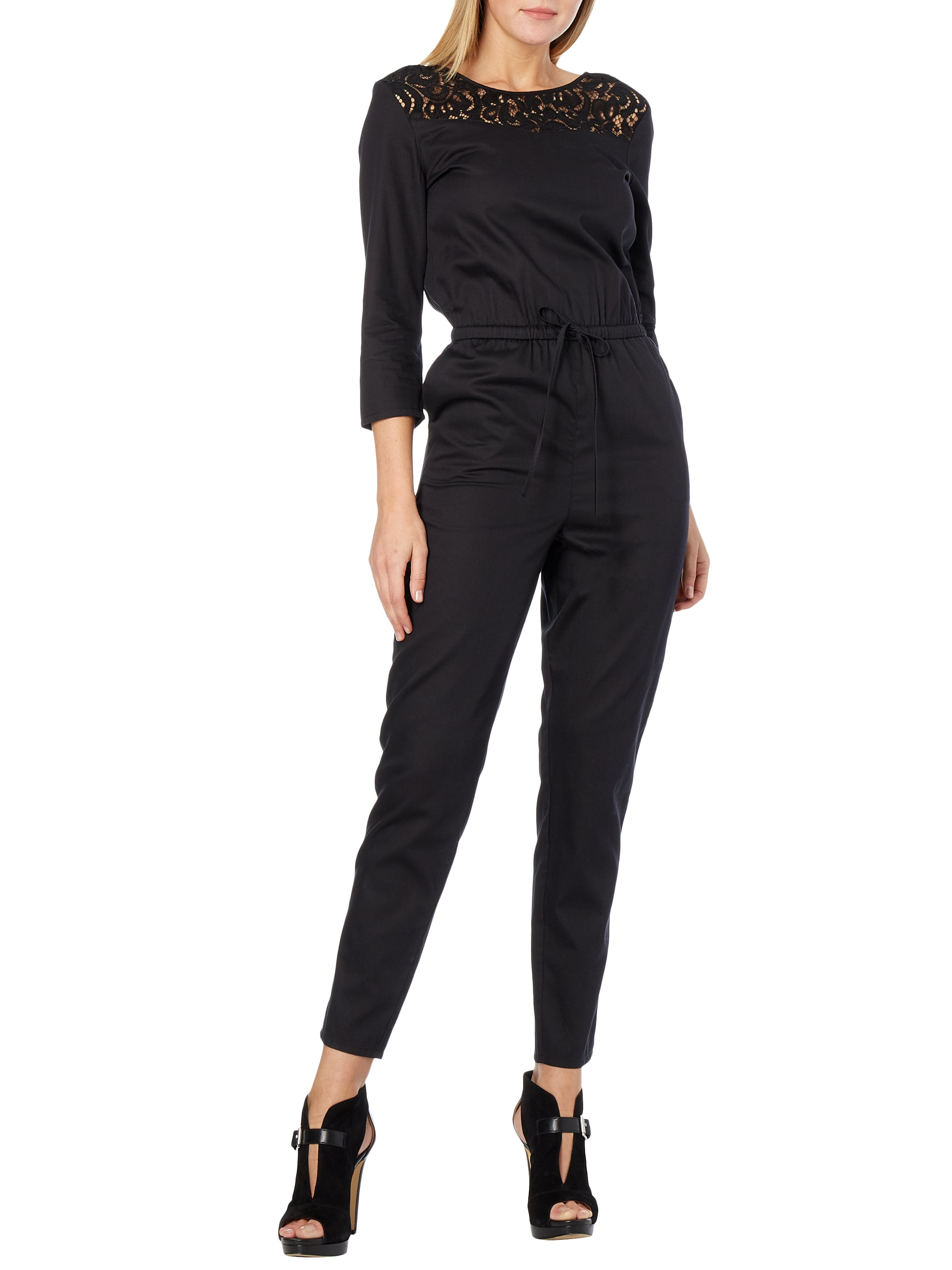 tom tailor denim jumpsuit mit einsatz aus h kelspitze in grau schwarz online kaufen 9603618. Black Bedroom Furniture Sets. Home Design Ideas