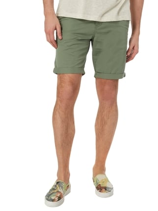 Tom Tailor Denim Slim Fit Chinoshorts aus Baumwolle Olivgrün - 1