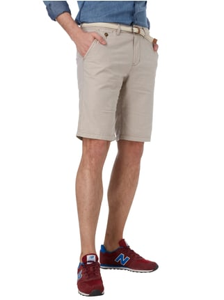 Tom Tailor Denim Slim Fit Chinoshorts mit Gürtel Offwhite - 1