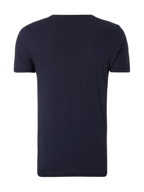 Tom Tailor Denim T-Shirt aus Slub Jersey mit Logo-Print Marineblau - 1