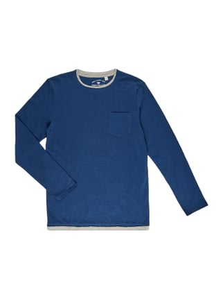Fitted Longsleeve im Double-Layer-Look Blau / Türkis - 1