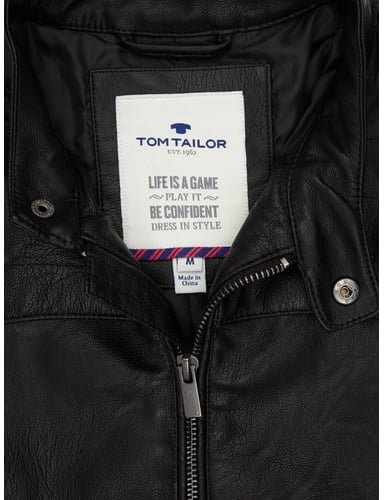 tom tailor jacke im biker look in grau schwarz online. Black Bedroom Furniture Sets. Home Design Ideas
