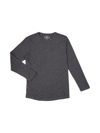 Long Fit Longsleeve in Melangeoptik Grau / Schwarz - 1