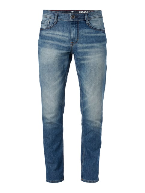 Stone Washed Regular Slim Fit Jeans Grau / Schwarz - 1