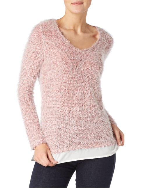 Tom Tailor Strickpullover im Double-Layer-Look Fuchsia - 1