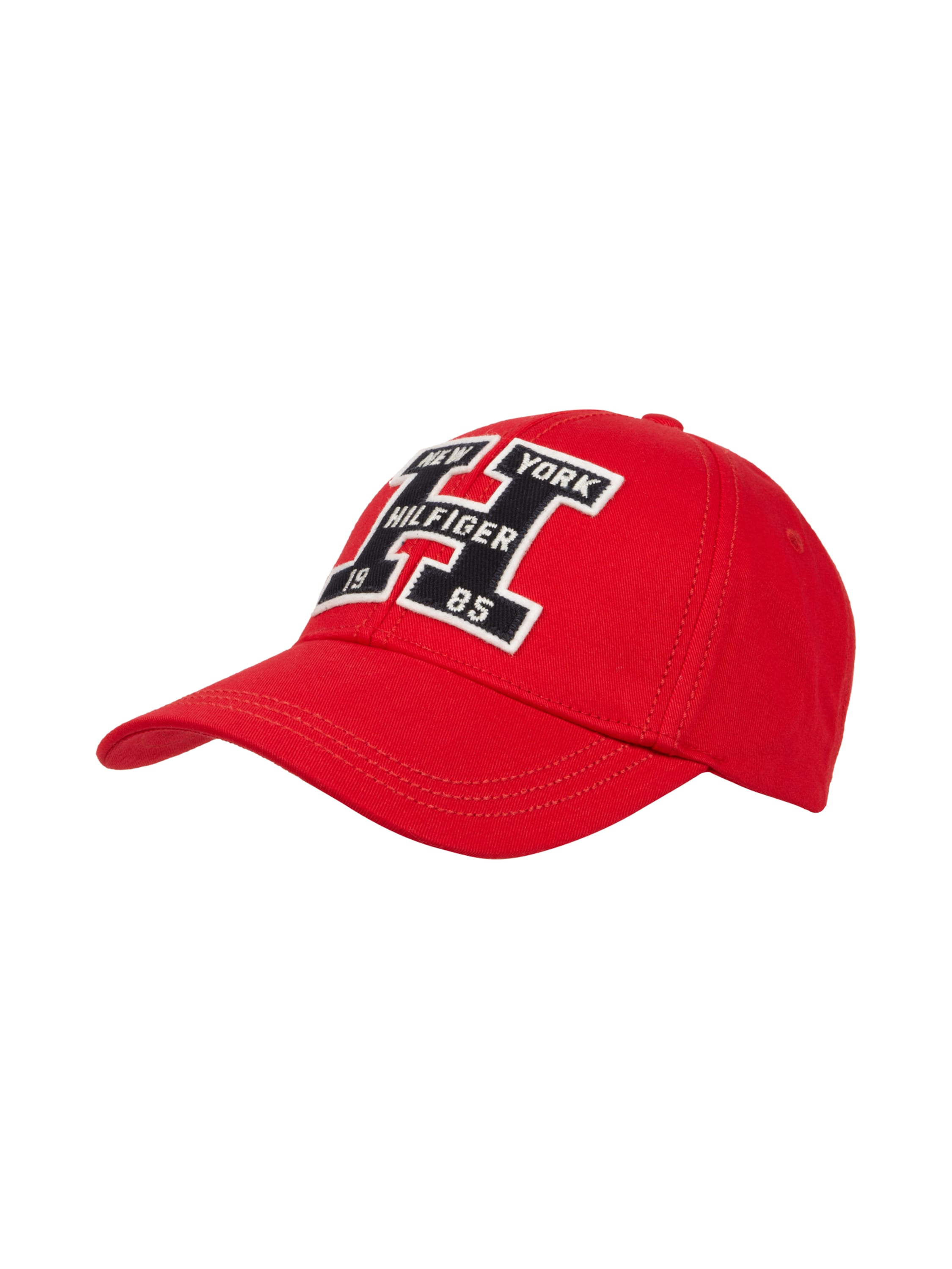 tommy hilfiger 6 panel basecap mit logo stickerei in rot. Black Bedroom Furniture Sets. Home Design Ideas