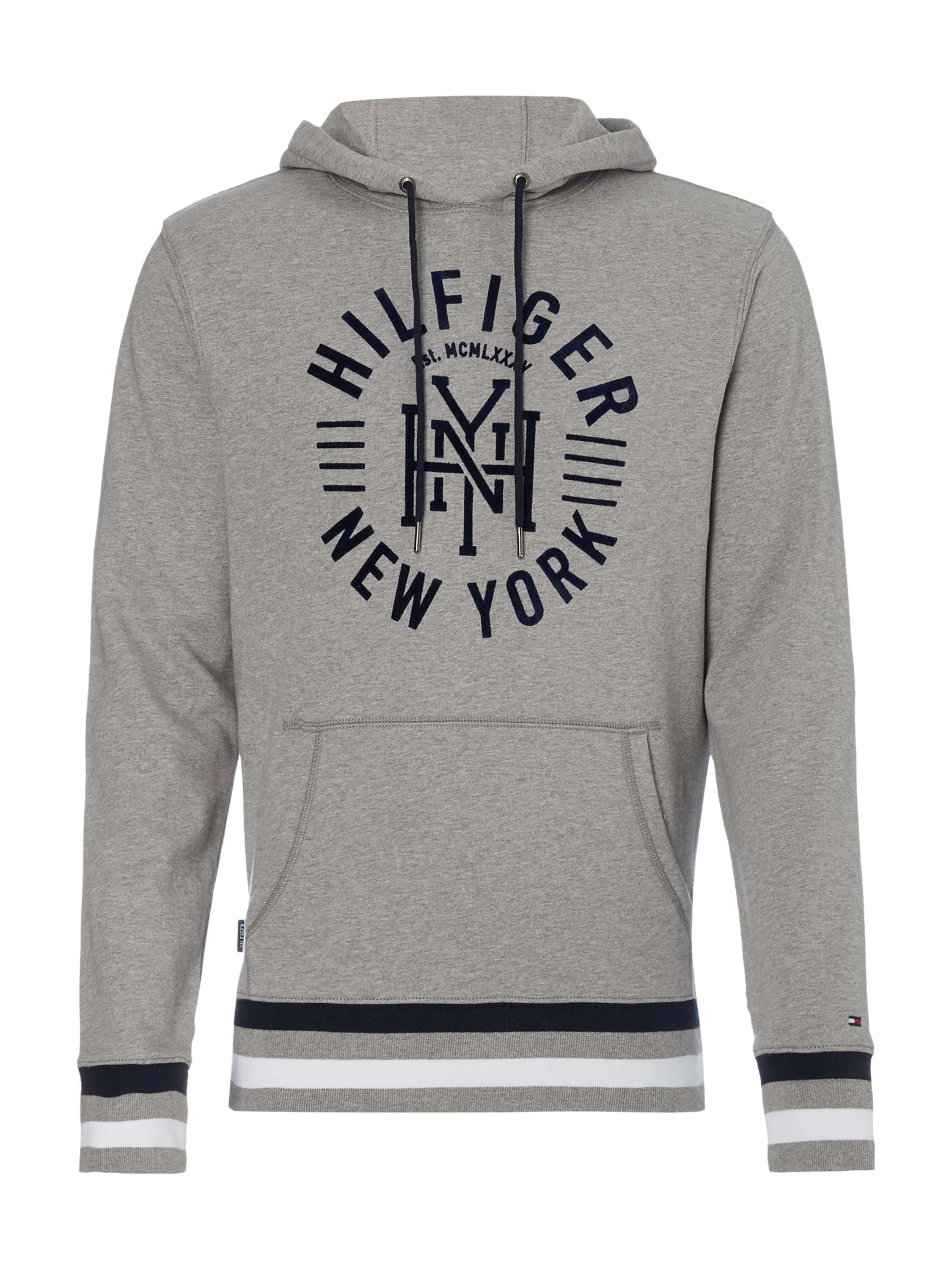 tommy hilfiger hoodie mit logo print in grau schwarz online kaufen 9554511 p c online shop. Black Bedroom Furniture Sets. Home Design Ideas