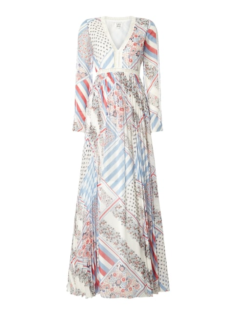 Pure Silk Printed Maxi Dress Gigi Hadid Weiß - 1