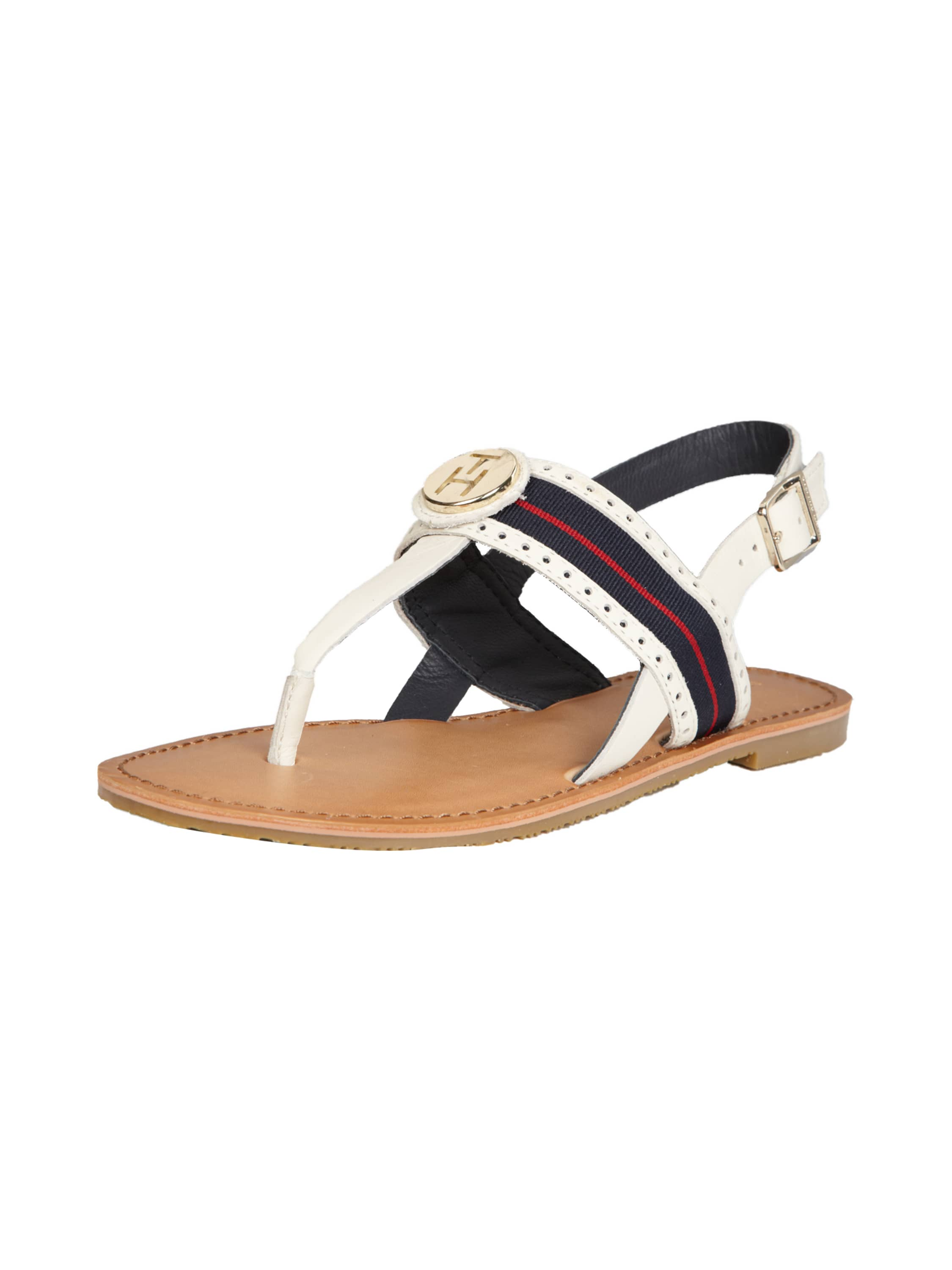 tommy hilfiger sandalen mit metall logo in wei online. Black Bedroom Furniture Sets. Home Design Ideas