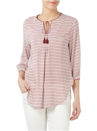 Tommy Hilfiger Tunika aus Viskose mit Allover-Muster Bordeaux Rot - 1