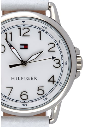 tommy hilfiger uhr mit genarbtem lederarmband in grau. Black Bedroom Furniture Sets. Home Design Ideas