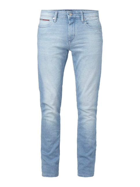 Stone Washed Slim Fit Jeans mit Stretch-Anteil Blau / Türkis - 1