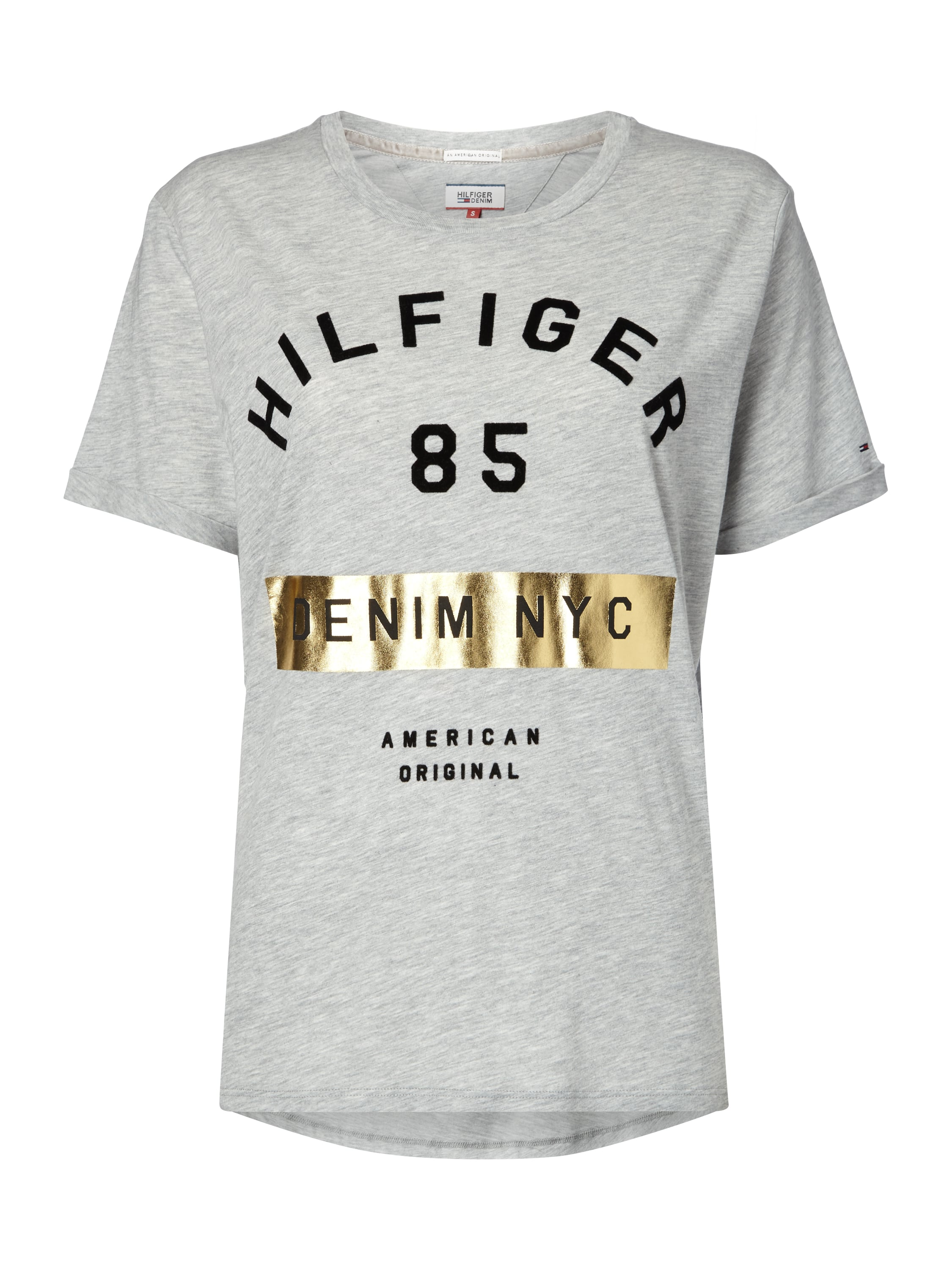 hilfiger denim t shirt mit gro em logo print in grau. Black Bedroom Furniture Sets. Home Design Ideas