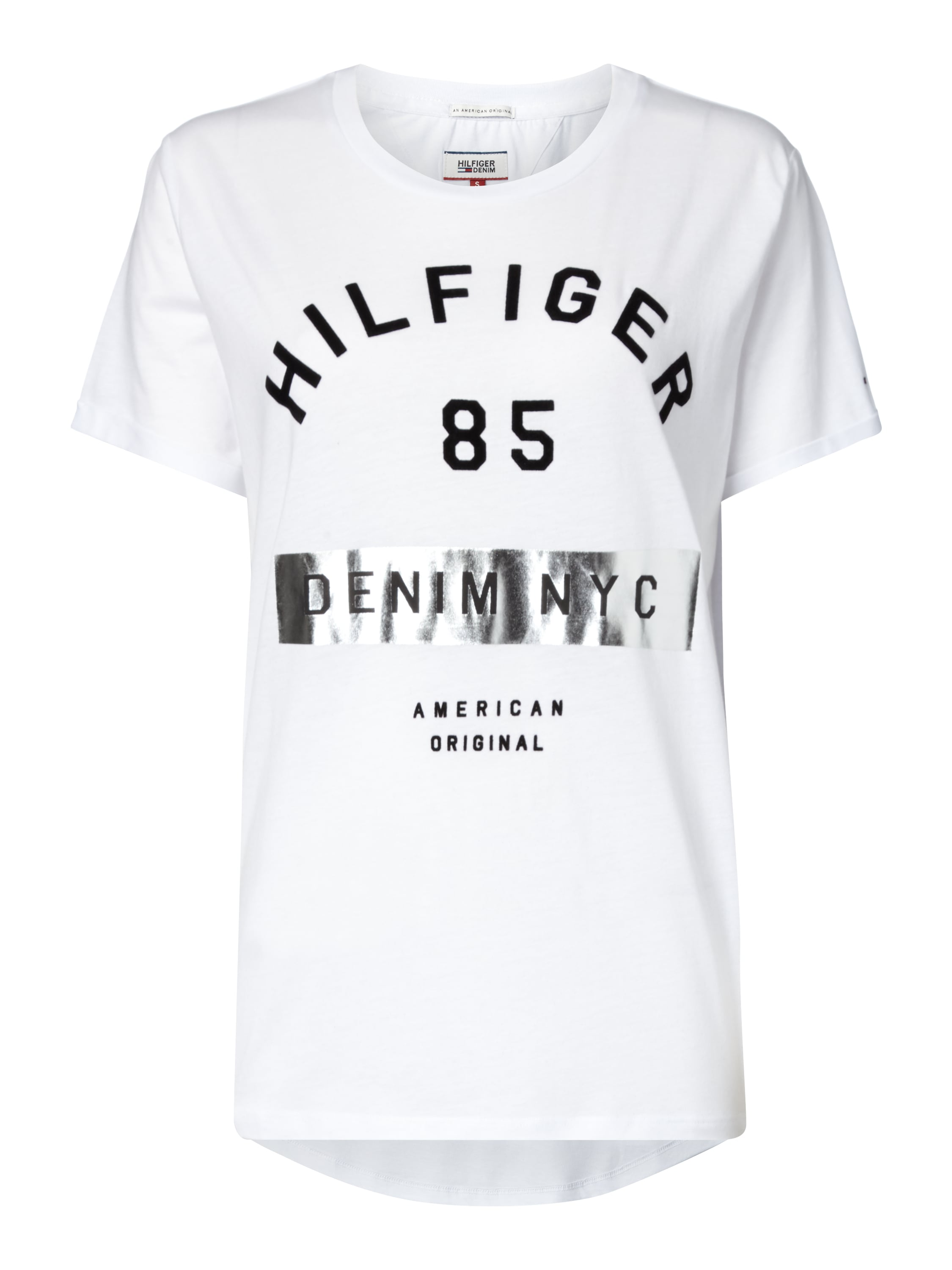 hilfiger denim t shirt mit gro em logo print in wei. Black Bedroom Furniture Sets. Home Design Ideas