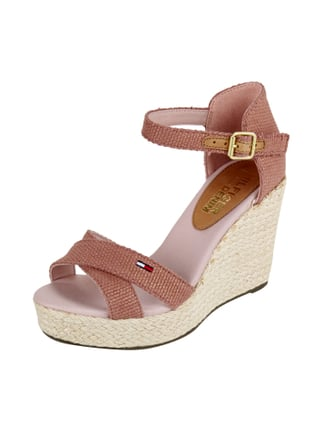 Wedges aus Canvas mit Keilabsatz in Flechtoptik Rosé - 1