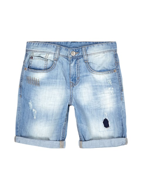 Stone Washed Jeansshorts im 5-Pocket-Design Blau / Türkis - 1