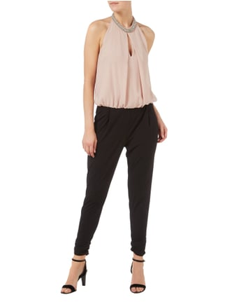 Vera Mont Two-Tone-Jumpsuit mit Collierkragen in Grau / Schwarz - 1