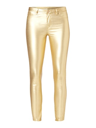 Coated Skinny Fit Jeggings in Metallicoptik Gelb - 1