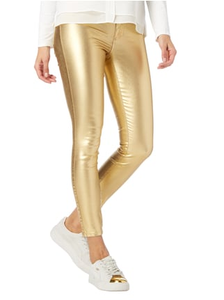 Vila Coated Skinny Fit Jeggings in Metallicoptik Gold - 1