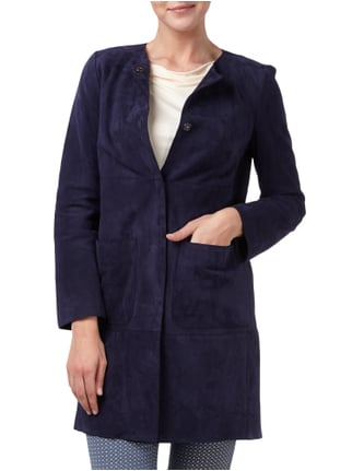 Weekend Max Mara Mantel aus echtem Veloursleder Marineblau - 1