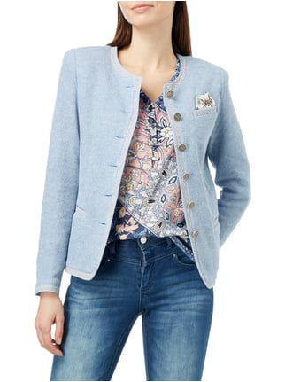 White Label Strickblazer in Melangeoptik Hellblau - 1