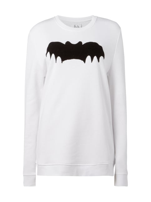 Boyfriend Fit Sweatshirt mit Fledermaus-Flockprint Weiß - 1