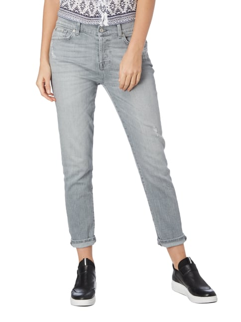 7 for all mankind Boyfriend Fit Jeans im Destroyed Look Hellgrau - 1