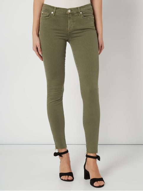 7fa82ee08dce ... 7 for all mankind Cropped Coloured Skinny Fit Jeans Khaki - 1