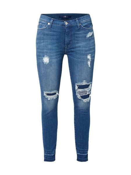 7 For All Mankind High Waist Jeans im Destroyed Look Blau - 1