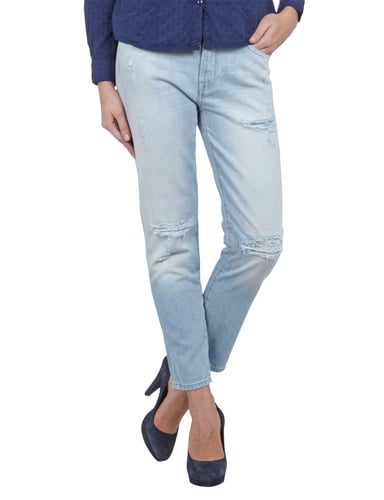 7 for all mankind Loose Tapered Fit Destroyed Boyfriend Jeans Hellblau - 1