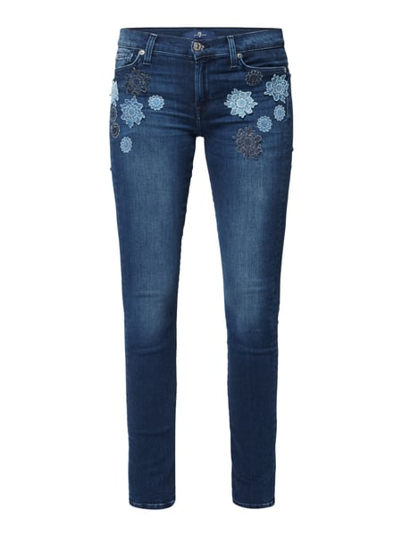 7 for all mankind The Skinny - Skinny Fit Jeans mit floralen Aufnähern Jeans