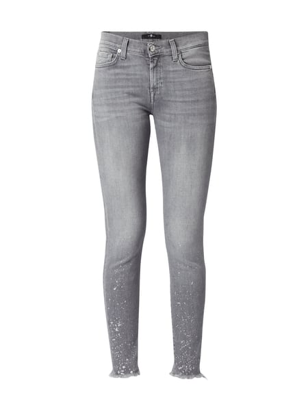 7 for all mankind The Skinny Crop - Stone Washed Skinny Fit Jeans Hellgrau