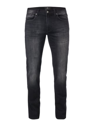 Stone Washed Slim Fit Jeans mit Stretch-Anteil Grau / Schwarz - 1